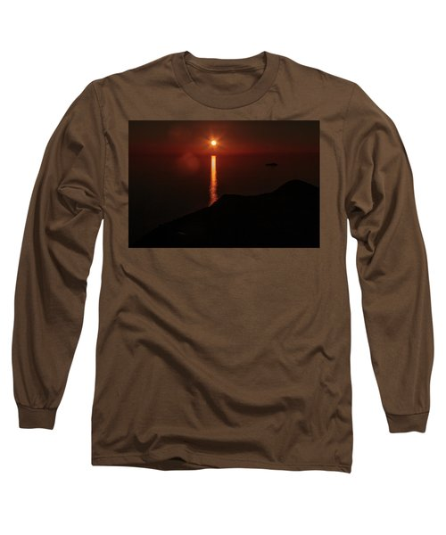 Sea, Mountains, Sunset, Sun Sinking Over The Horizon Long Sleeve T-Shirt