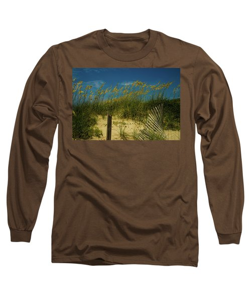 Sea Oats And Sand Fence Long Sleeve T-Shirt by John Harding