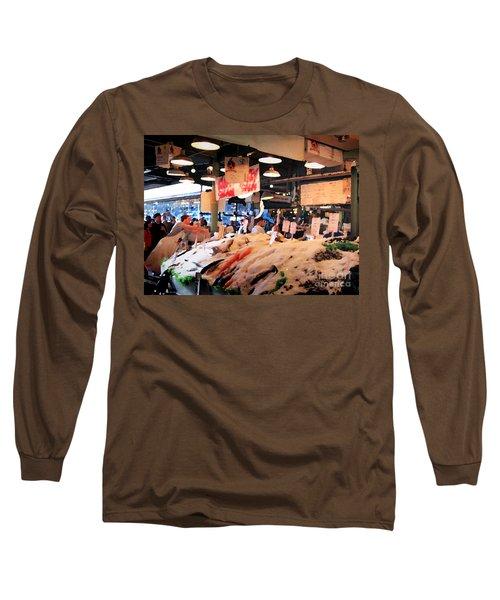 Seattle Fish Throw Pike St Market Long Sleeve T-Shirt
