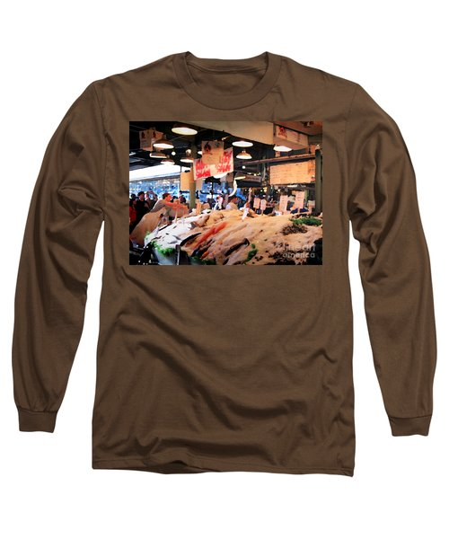 Long Sleeve T-Shirt featuring the photograph Seattle Fish Throw Pike St Market by Peter Simmons