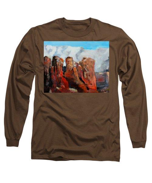 Sedona Coffee Pot Rock Painting Long Sleeve T-Shirt by Michele Carter