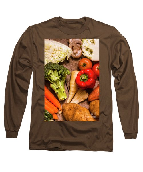 Selection Of Fresh Vegetables On A Rustic Table Long Sleeve T-Shirt by Jorgo Photography - Wall Art Gallery
