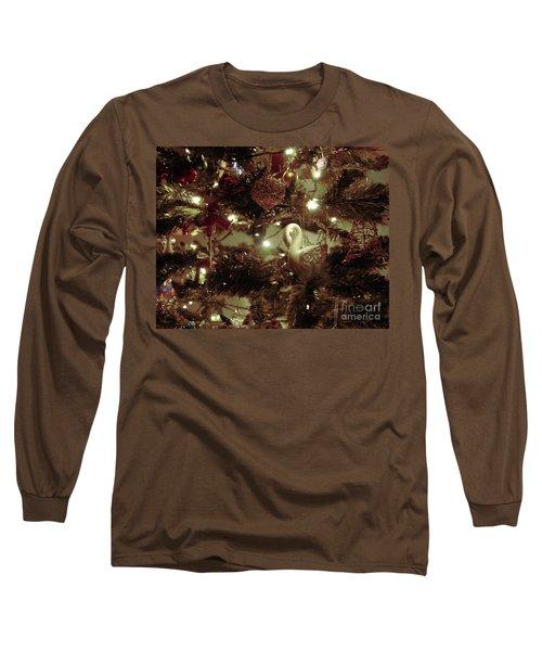 Sepia Christmas Tree Long Sleeve T-Shirt