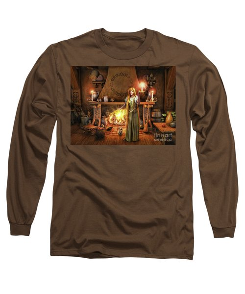 Long Sleeve T-Shirt featuring the painting Share My Fire And Candle Light by Dave Luebbert