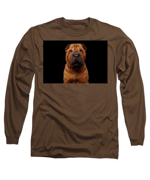 Sharpei Dog Isolated On Black Background Long Sleeve T-Shirt