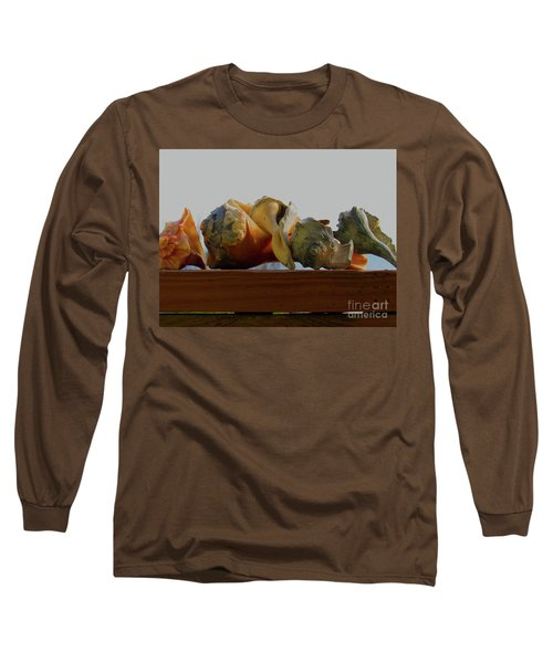 Shells Of The Sea In Orange And Gray Long Sleeve T-Shirt