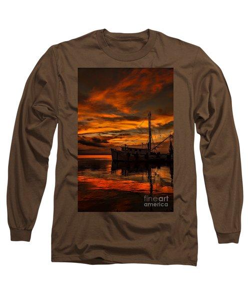 Shrimp Boat Sunset Long Sleeve T-Shirt