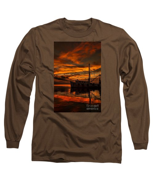 Shrimp Boat Sunset Long Sleeve T-Shirt