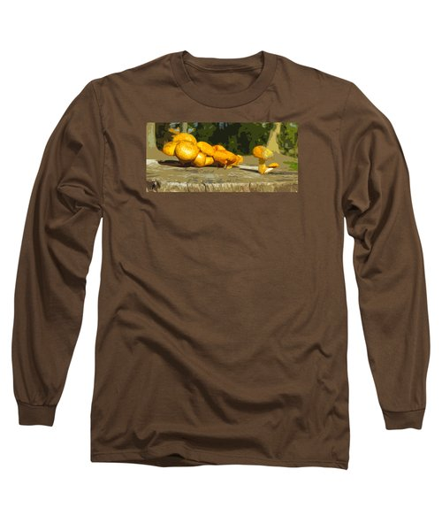 Long Sleeve T-Shirt featuring the photograph Shrooms On A Stump by Spyder Webb