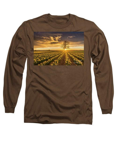 Long Sleeve T-Shirt featuring the photograph Skagit Valley Daffodils Sunset by Mike Reid