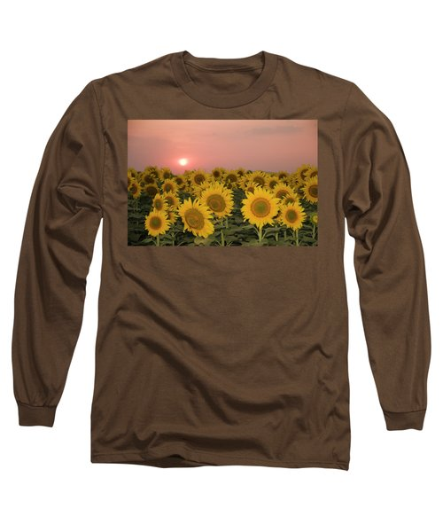 Skn 2179 Sunflower Landscape Long Sleeve T-Shirt