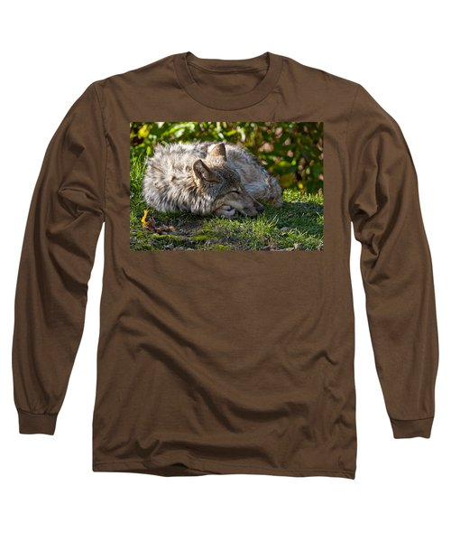 Long Sleeve T-Shirt featuring the photograph Sleeping Timber Wolf by Michael Cummings