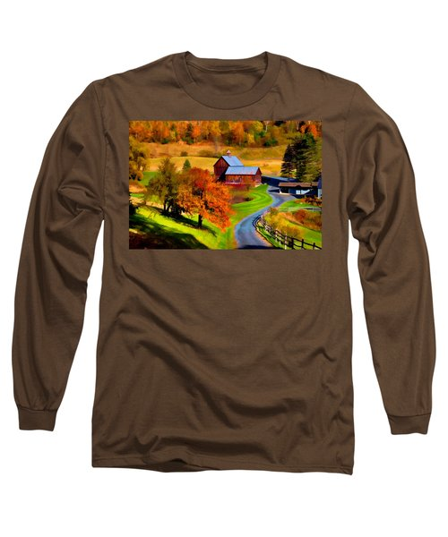 Digital Painting Of Sleepy Hollow Farm Long Sleeve T-Shirt