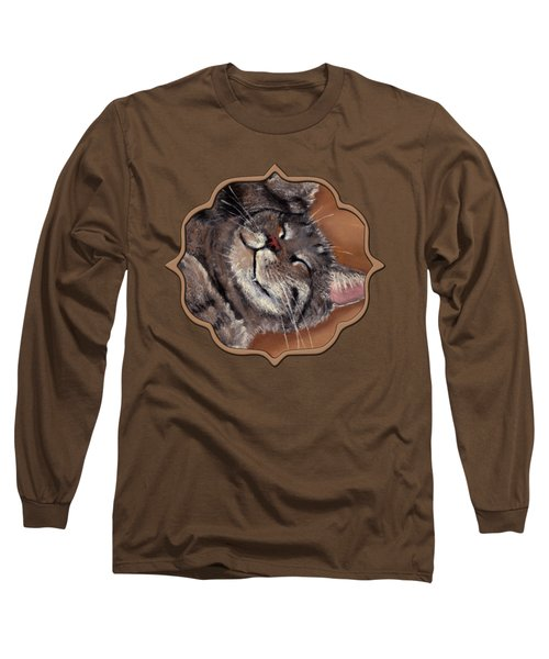 Long Sleeve T-Shirt featuring the painting Sleepy Kitty by Anastasiya Malakhova