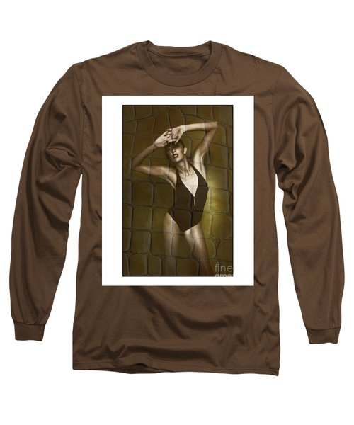 Slim Girl In Bathing Suit Long Sleeve T-Shirt by Michael Edwards