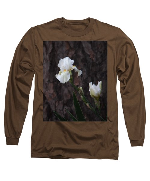 Snow White Iris On Pine Long Sleeve T-Shirt