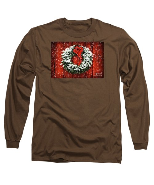 Snowy Christmas Wreath Long Sleeve T-Shirt by Lois Bryan