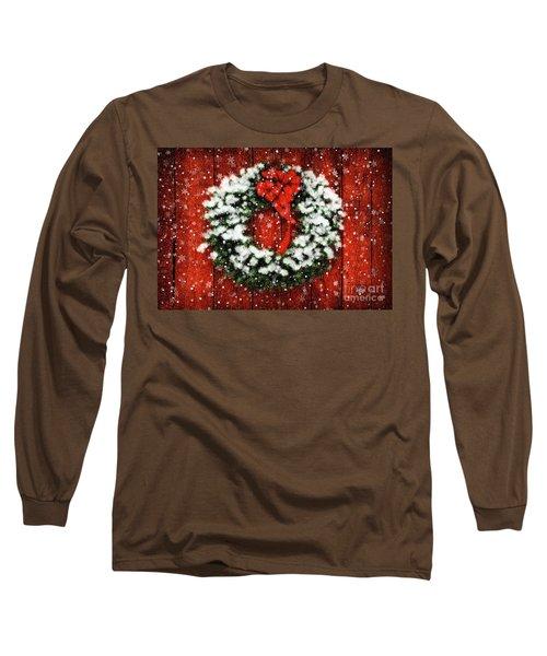 Snowy Christmas Wreath Long Sleeve T-Shirt