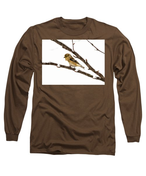 Snowy Day Goldfinch Long Sleeve T-Shirt