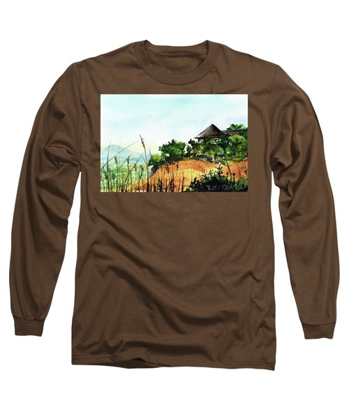 Long Sleeve T-Shirt featuring the painting Solitary Cottage In Malawi by Dora Hathazi Mendes