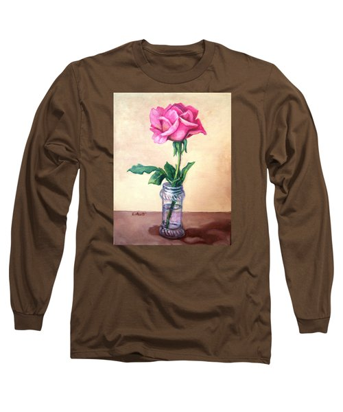Long Sleeve T-Shirt featuring the painting Solo Rose by Laura Aceto