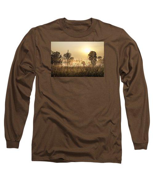 Southern Michigan Foggy Morning  Long Sleeve T-Shirt by John McGraw