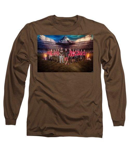 Long Sleeve T-Shirt featuring the digital art Southwest Aztecs Baseball Organization by Nicholas Grunas