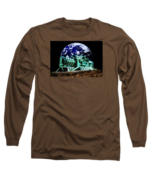 Long Sleeve T-Shirt featuring the painting Space Station Omega by Mario Carini