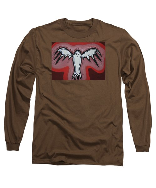 Spirit Crow Original Painting Long Sleeve T-Shirt by Sol Luckman