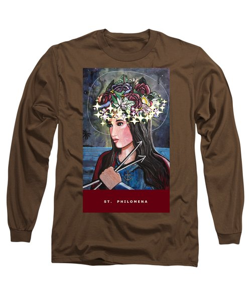 Long Sleeve T-Shirt featuring the mixed media St. Philomena by Mary Ellen Frazee
