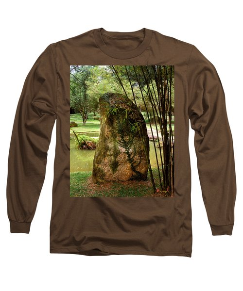 Standing Stone With Fern And Bamboo 19a Long Sleeve T-Shirt