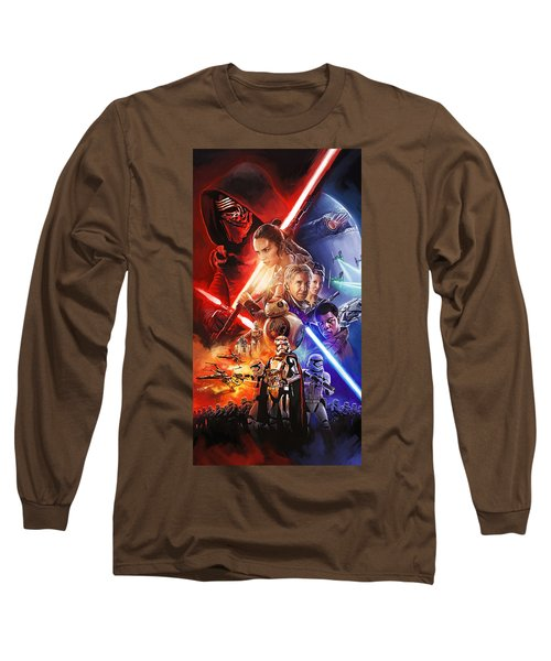 Long Sleeve T-Shirt featuring the painting Star Wars The Force Awakens Artwork by Sheraz A