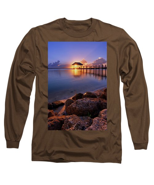 Starburst Sunset Over House Of Refuge Pier In Hutchinson Island At Jensen Beach, Fla Long Sleeve T-Shirt by Justin Kelefas