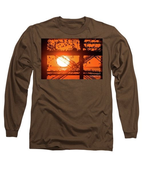 Starlings At Sunset Under Aberystwyth Pier Long Sleeve T-Shirt
