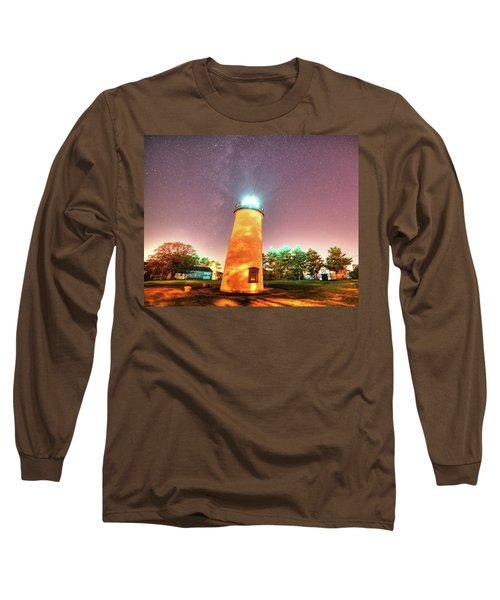 Starry Sky Over The Newburyport Harbor Light Long Sleeve T-Shirt