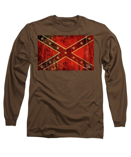 Long Sleeve T-Shirt featuring the digital art Stars And Bars Confederate Flag by Randy Steele