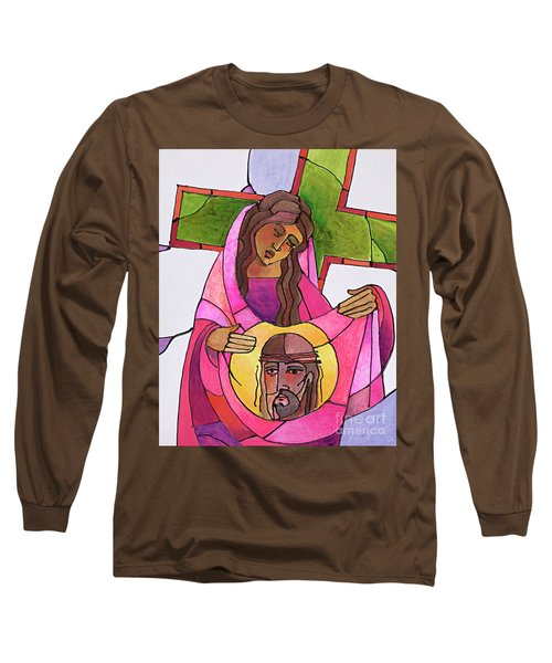 Stations Of The Cross - 06 St. Veronica Wipes The Face Of Jesus - Mmvew Long Sleeve T-Shirt