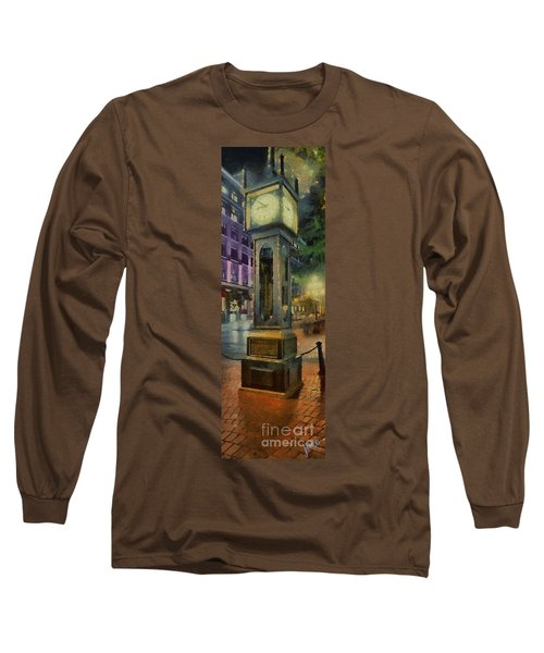 Long Sleeve T-Shirt featuring the digital art Steam Clock Gastown by Jim  Hatch
