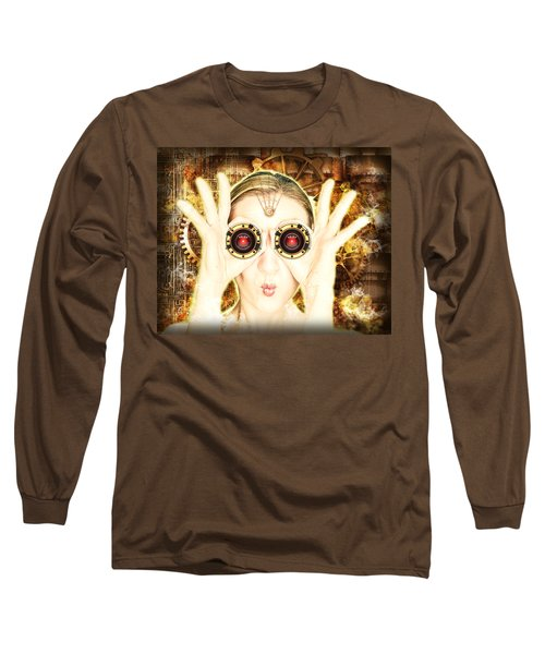 Steam Punk Lady With Bins Long Sleeve T-Shirt
