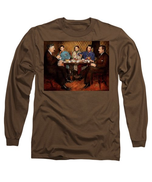 Long Sleeve T-Shirt featuring the photograph Steampunk - Bionic Three Having Tea 1917 by Mike Savad