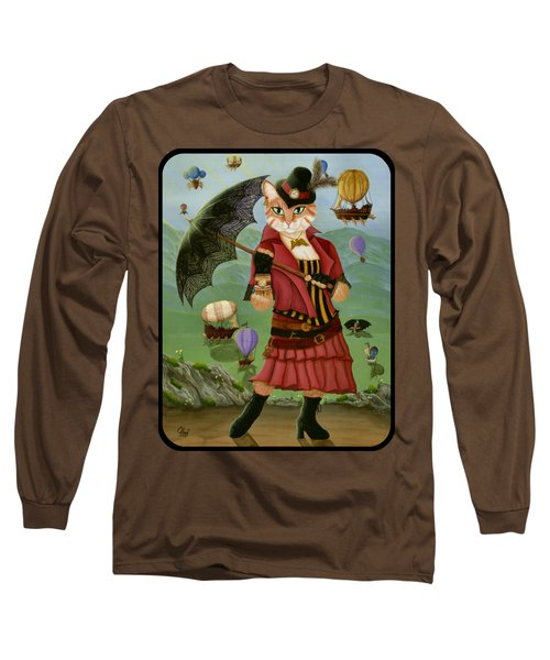 Steampunk Cat Gal - Victorian Cat Long Sleeve T-Shirt