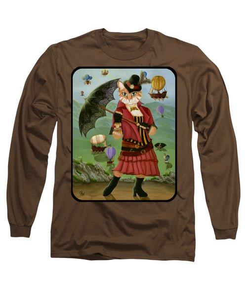 Steampunk Cat Gal - Victorian Cat Long Sleeve T-Shirt