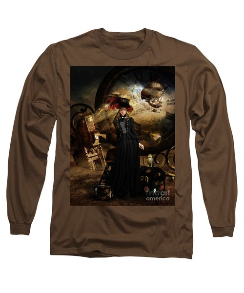 Steampunk Time Traveler Long Sleeve T-Shirt by Shanina Conway