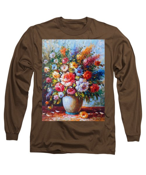 Still Life Colourful Flowers In Bloom Long Sleeve T-Shirt