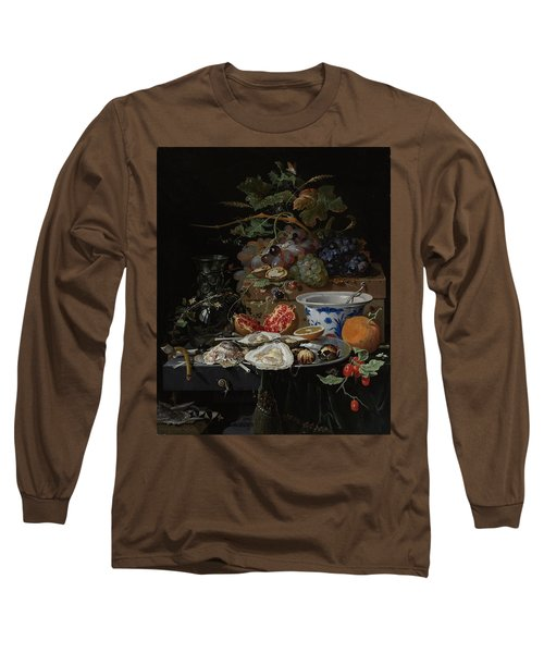 Still Life With Fruit, Oysters, And A Porcelain Bowl, 1679 Long Sleeve T-Shirt