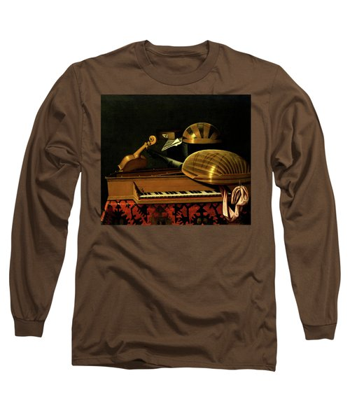 Still Life With Musical Instruments And Books Long Sleeve T-Shirt
