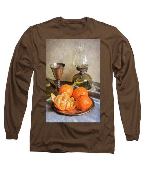 Long Sleeve T-Shirt featuring the photograph Still Life With Oil Lamp And Fresh Tangerines by Jaroslaw Blaminsky