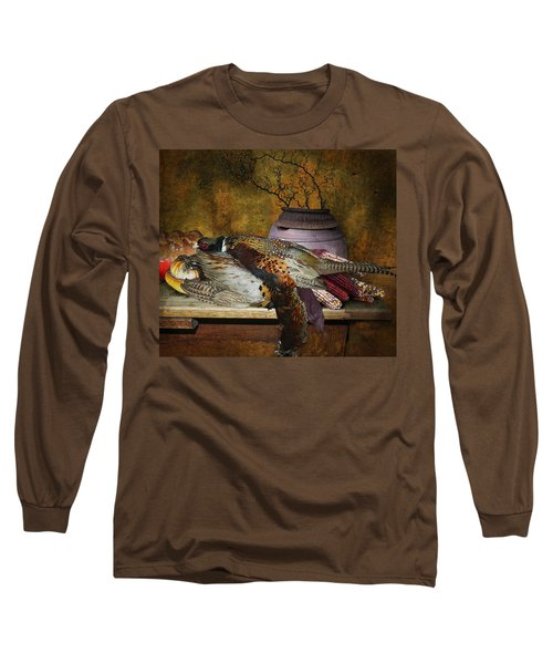 Still Life With Pheasants And Corn Long Sleeve T-Shirt by Jeff Burgess