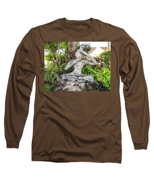 Stone Statue Depicting A Thai Yoga Pose At Wat Pho Temple Long Sleeve T-Shirt