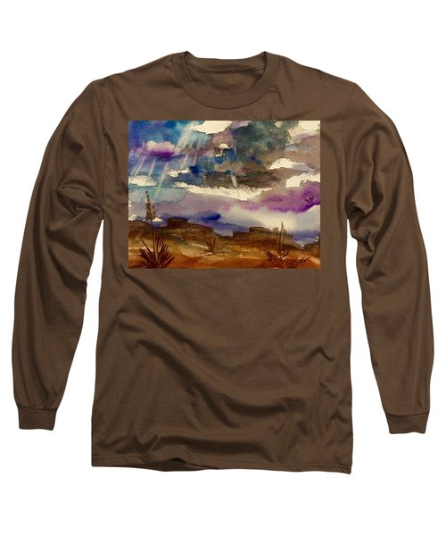 Storm Clouds Over The Desert Long Sleeve T-Shirt by Ellen Levinson